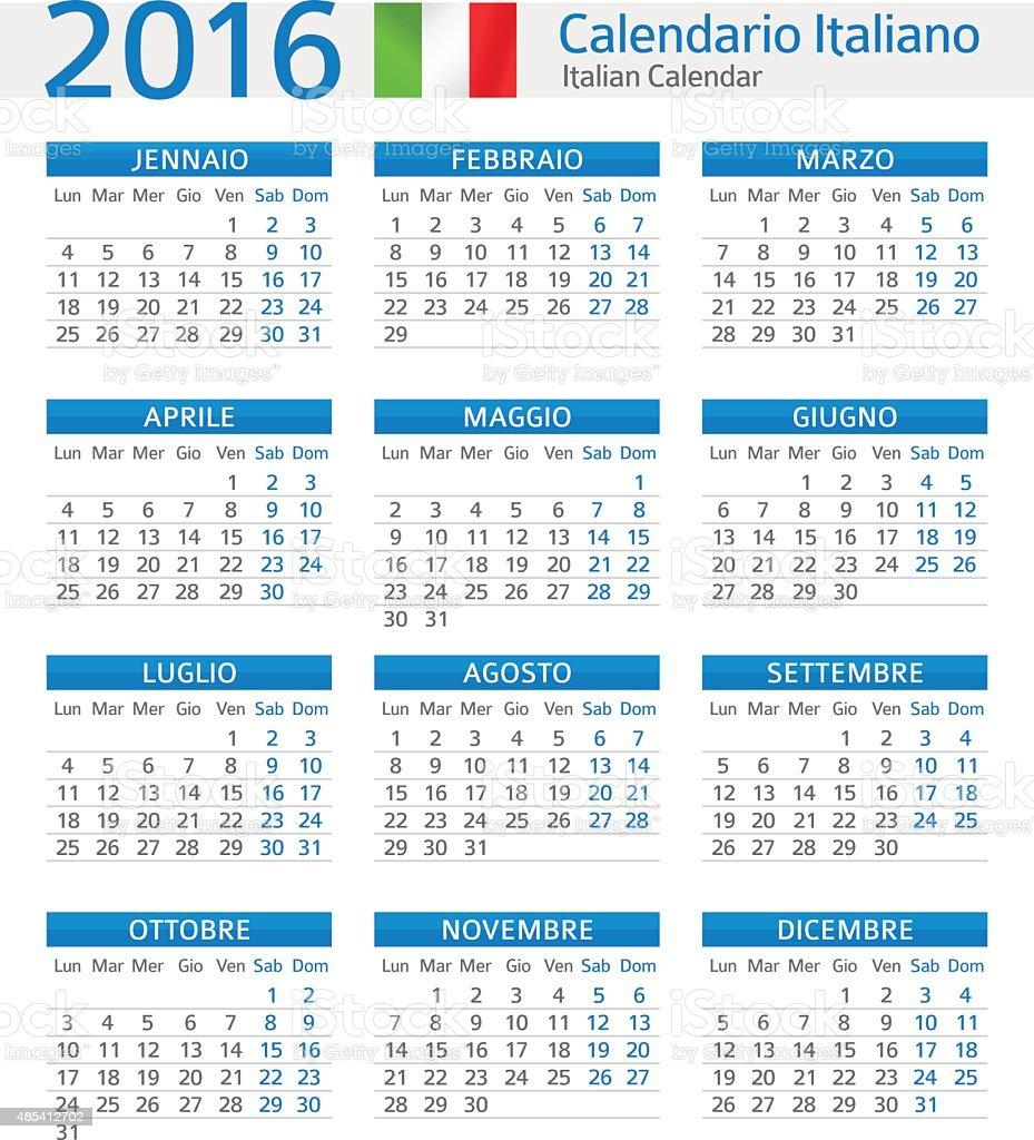 Calendario Vector.Italian Calendar 2016 Calendario Italiano 2016 Stock Illustration