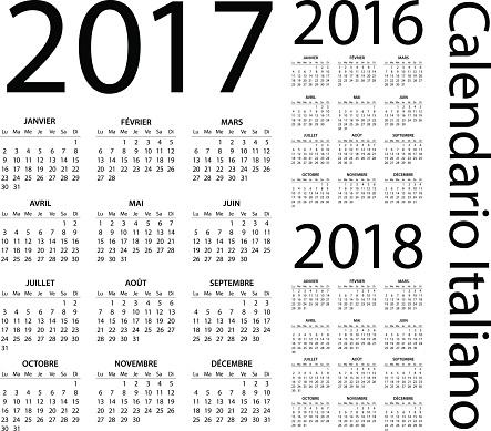 Italian Calendar 2017 2016 2018 - illustration