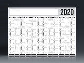 Calendar 2020 - Italian version (versione italiana). Need another version, another year... Check my portfolio. Vector Illustration (EPS10, well layered and grouped). Easy to edit, manipulate, resize or colorize.
