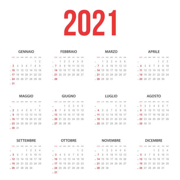 Italian Calendar 2021 vector art illustration