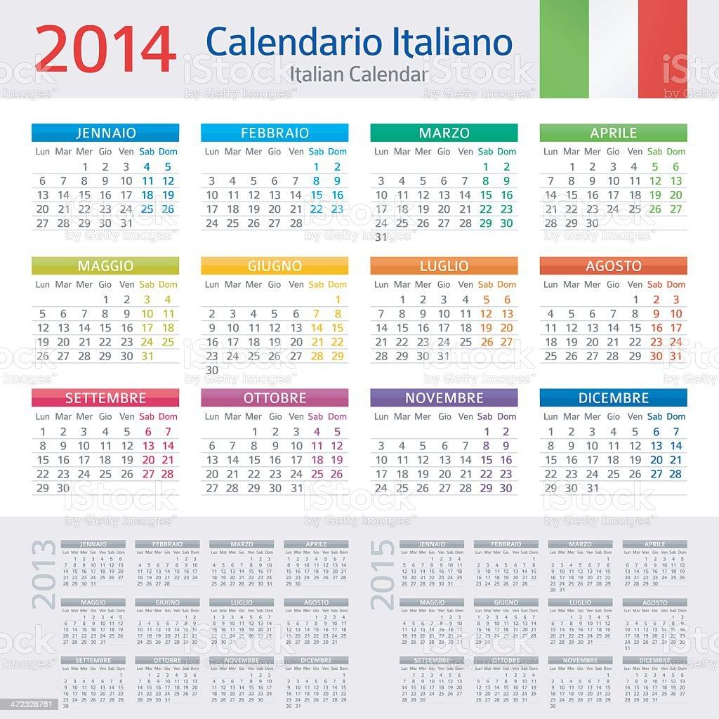 Italian Calendar / Calendario Italiano 2014 vector art illustration