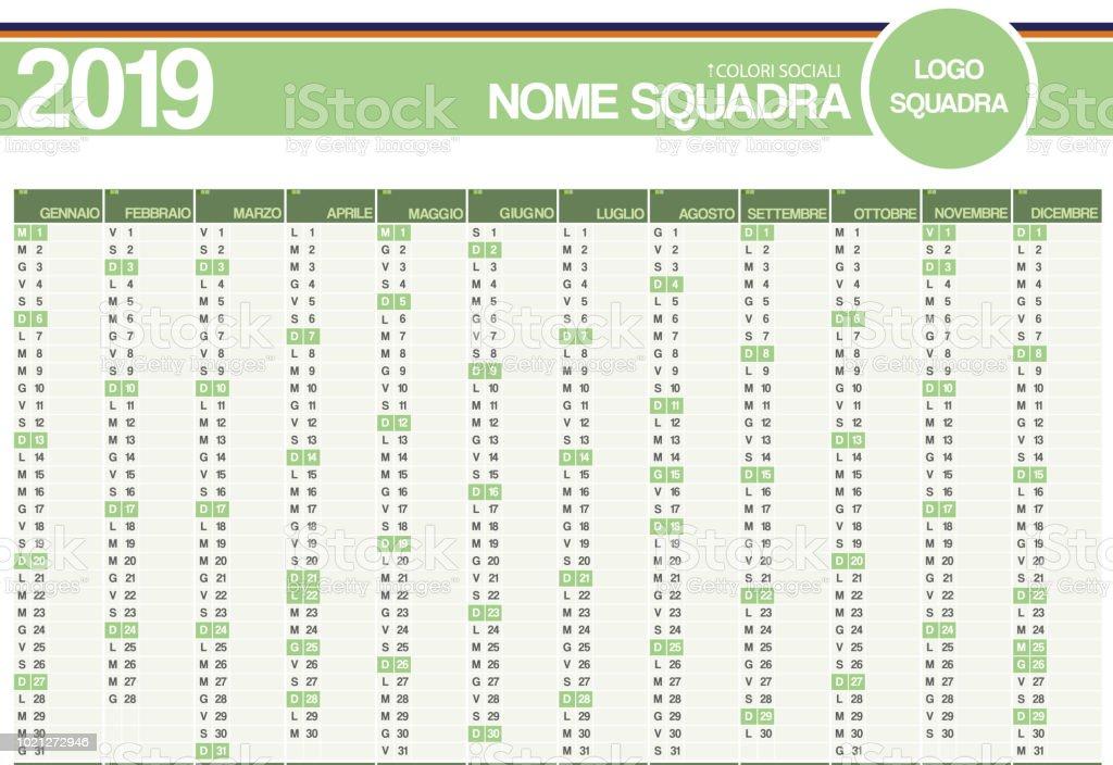 Calendario Futbol 2019.Ilustracion De Calendario Italiano 2019 Meses Vertical De De Equipos