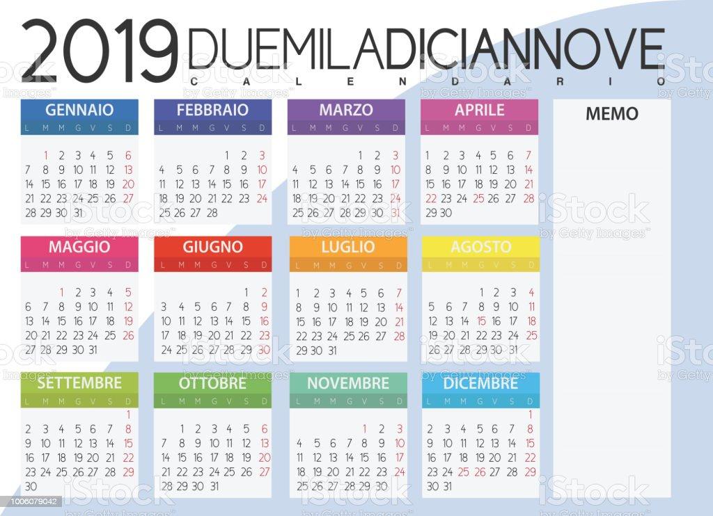 2019 Italian Calendar Stock Illustration - Download Image Now - iStock