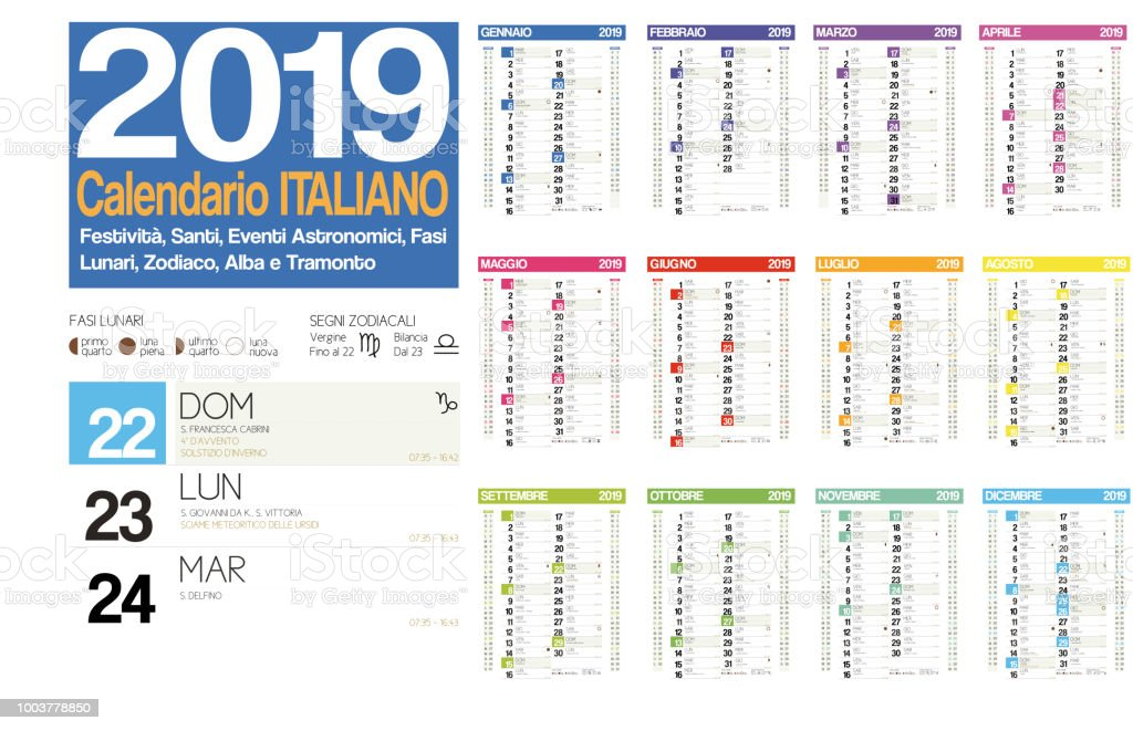 2019 Italian Calendar With Italian Holidays Zodiac Saints