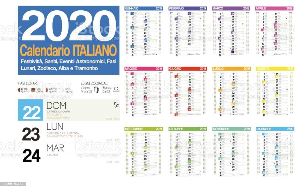 Calendario Fasi Lunari 2020.2020 Italian Calendar With Italian Holidays Zodiac Saints