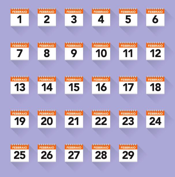 italian calendars icon set - leap year stock illustrations