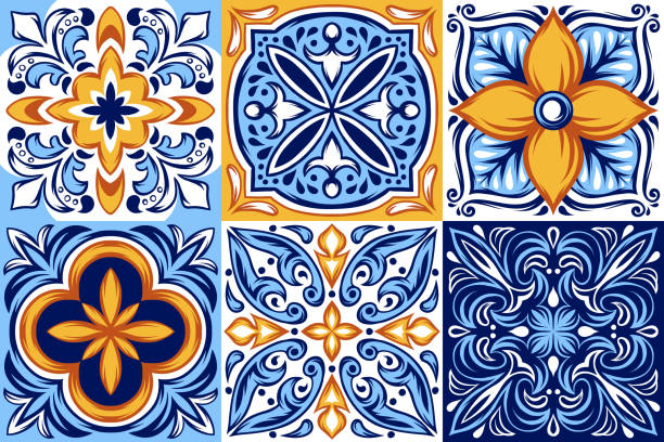 ilustrações de stock, clip art, desenhos animados e ícones de italian ceramic tile pattern. ethnic folk ornament. - mosaicos flores