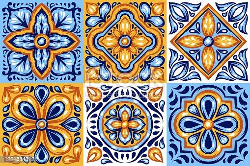 istock Italian ceramic tile pattern. Mediterranean porcelain pottery. 1221584312