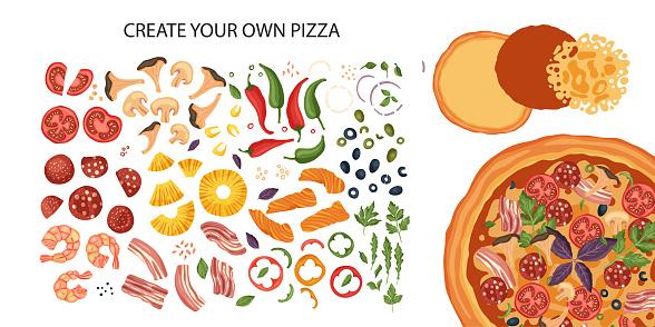 Italian cheese pizza creator, vector.