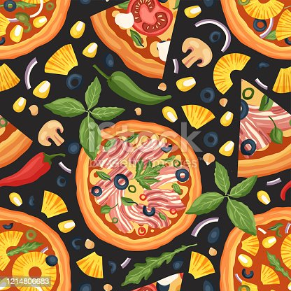 Italian cheese margherita and bacon pizza vector seamless pattern illustration. Delicious tasty snack with meat, pineapple and mushrooms. Flat food design on a black background.