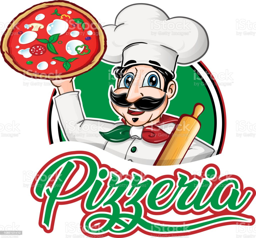 italian Chef  emblem with pizza margherita vector art illustration
