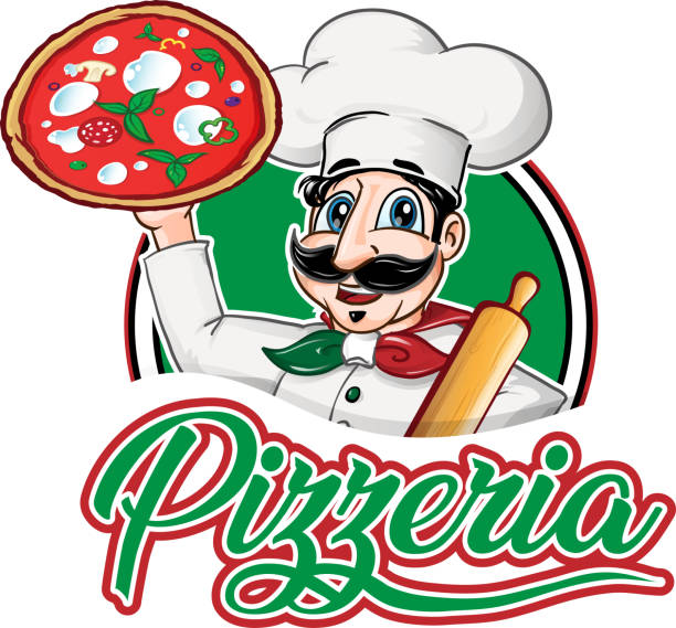 italian Chef  emblem with pizza margherita vector art illustration