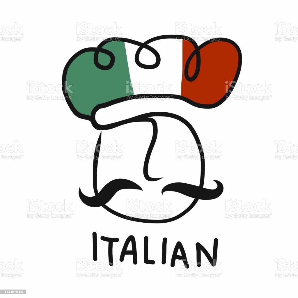 Ilustración De Ilustración De Dibujo Vectorial De Diseño De Logotipo De Chef Italiano Y Más Vectores Libres De Derechos De Adulto