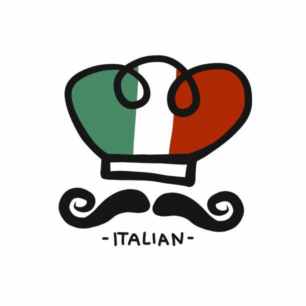 ilustrações de stock, clip art, desenhos animados e ícones de italian chef hand drawing logo design vector illustration - cooker happy