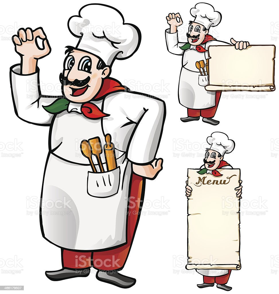 Italian chef vector art illustration