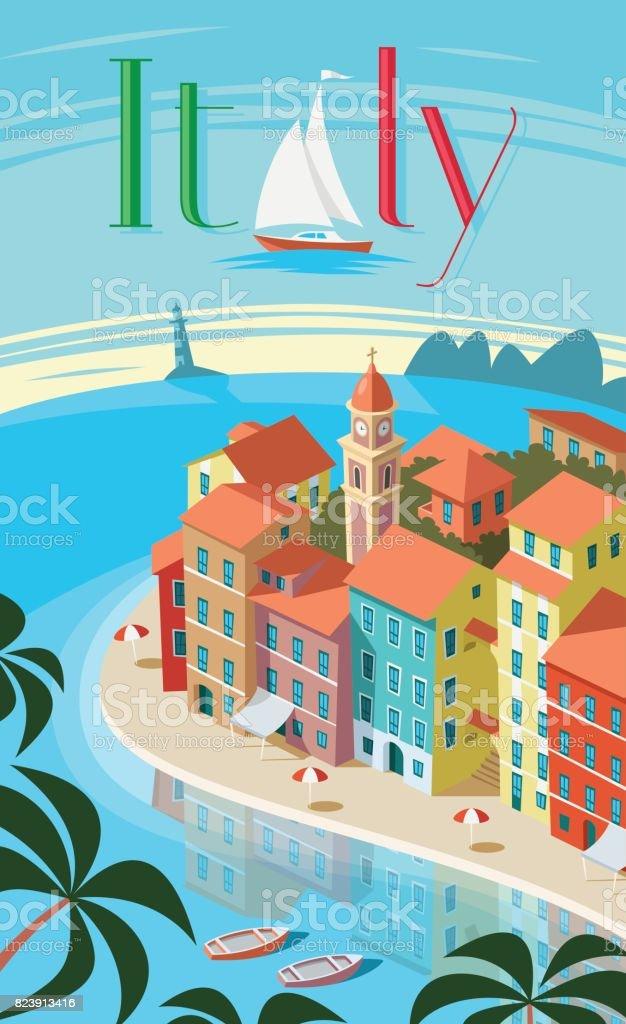 Italian coastal town Portofino landscape vector art illustration