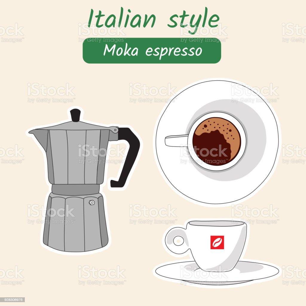 Ilustración de Café Italiano Ilustración De Vector Dibujado A Mano ...