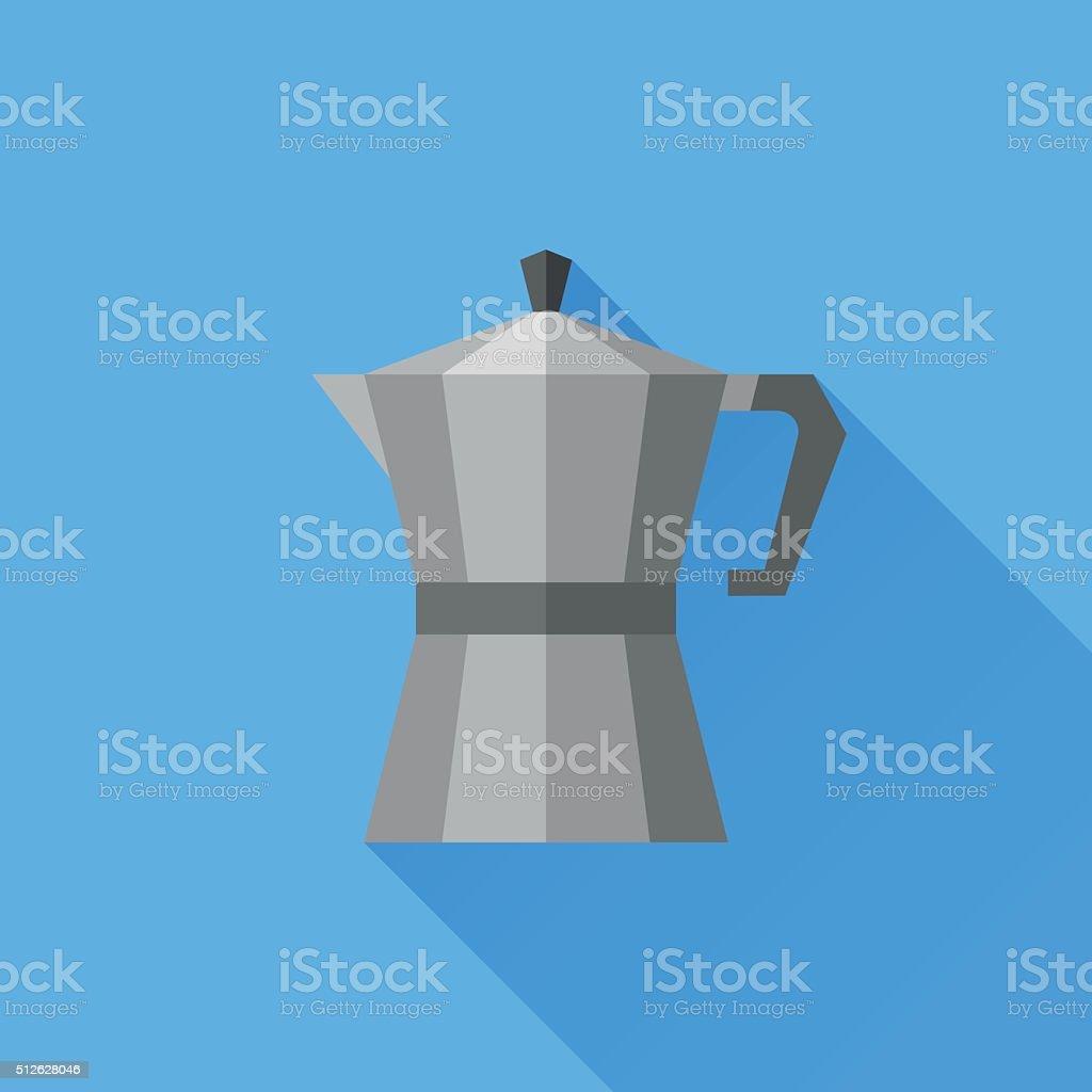 Italian coffee pot flat icon vector art illustration