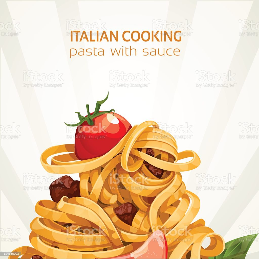 Italian Cooking pasta with sauce banner vector art illustration