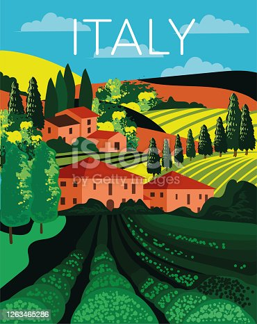istock Italian country landscape in rolling hills 1263465286