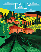 Italian country landscape in rolling hills with farm fields filled with green crops and red roofed farm buildings amongst cypress trees, colored vector illustration