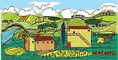 An illustration of a tuscan landscape