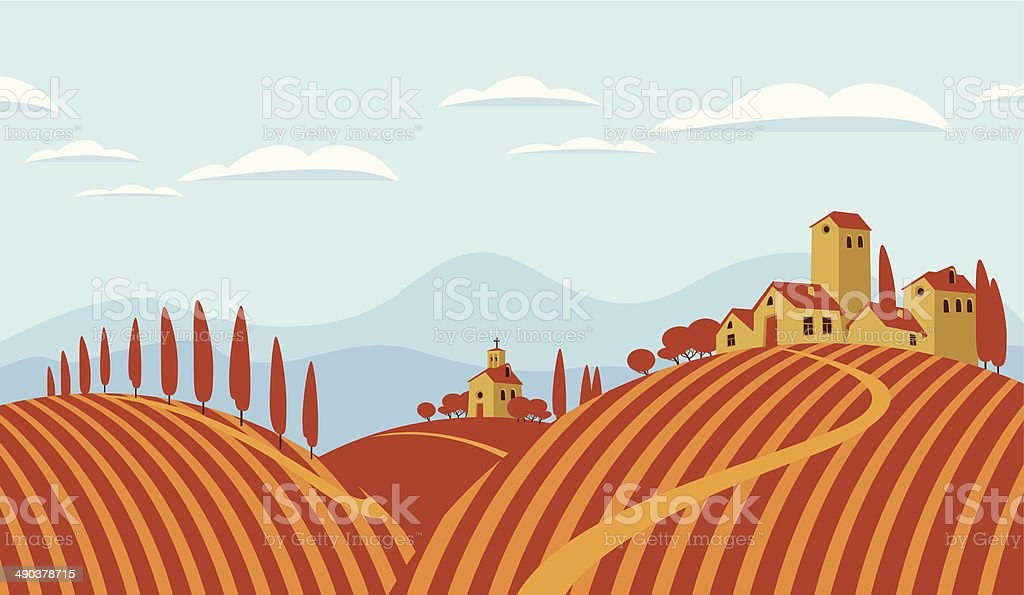 Italian countryside vector art illustration