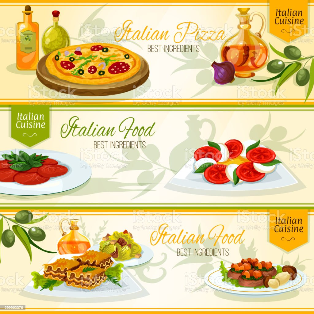 Italian cuisine banners for restaurant design vector art illustration