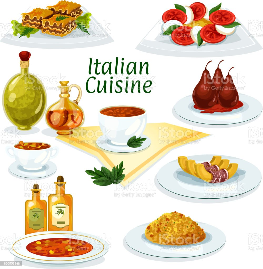 Italian cuisine cartoon icon for restaurant design stock - Cuisine designer italien ...
