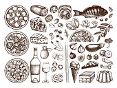 Hand drawn italian cuisine sketches set. Vector collection of engraved food, drinks, ingredients. Vector drawings for festival, pizzeria, bakery or cafe. Top view illustration. Line art.