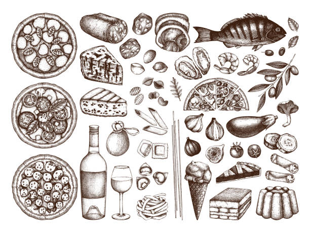 Italian cuisine collection Hand drawn italian cuisine sketches set. Vector collection of engraved food, drinks, ingredients. Vector drawings for festival, pizzeria, bakery or cafe. Top view illustration. Line art. vermicelli stock illustrations