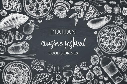 Italian cuisine design on chalkboard