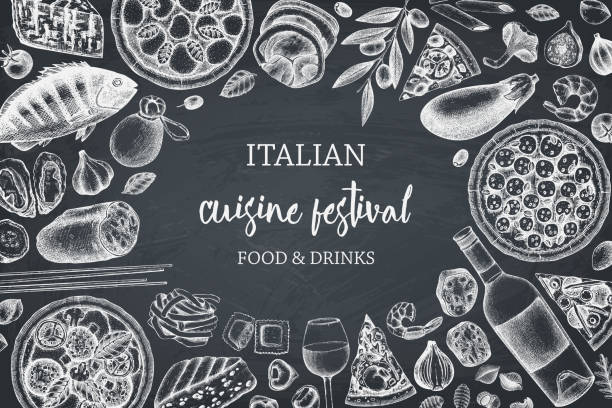 Italian cuisine design on chalkboard Hand drawn pizza and pasta top view frame. Italian food and drinks menu design template. Engraved style pizzeria illustration. Italian cuisine ingredients vintage sketch. On chalkboard alcohol drink borders stock illustrations