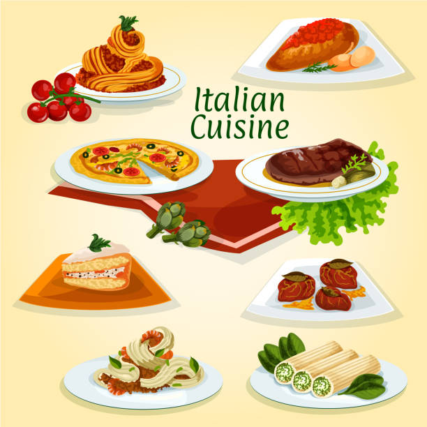 Italian cuisine dinner icon with popular dishes Italian cuisine dinner icon of popular dishes with seafood and meat carbonara pasta, pizza, chicken milanese, florentine steak, stuffed cannelloni pasta, beef chop with ham, marzipan cake cassata cannelloni stock illustrations