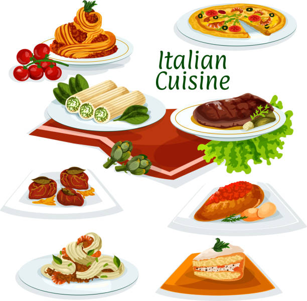 Italian cuisine dinner with dessert cartoon icon Italian cuisine seafood pizza cartoon icon with pasta and spaghetti with shrimps and bacon, florentine beef steak, chicken with tomato sauce, pasta stuffed feta, fruit cake, beef chop cannelloni stock illustrations