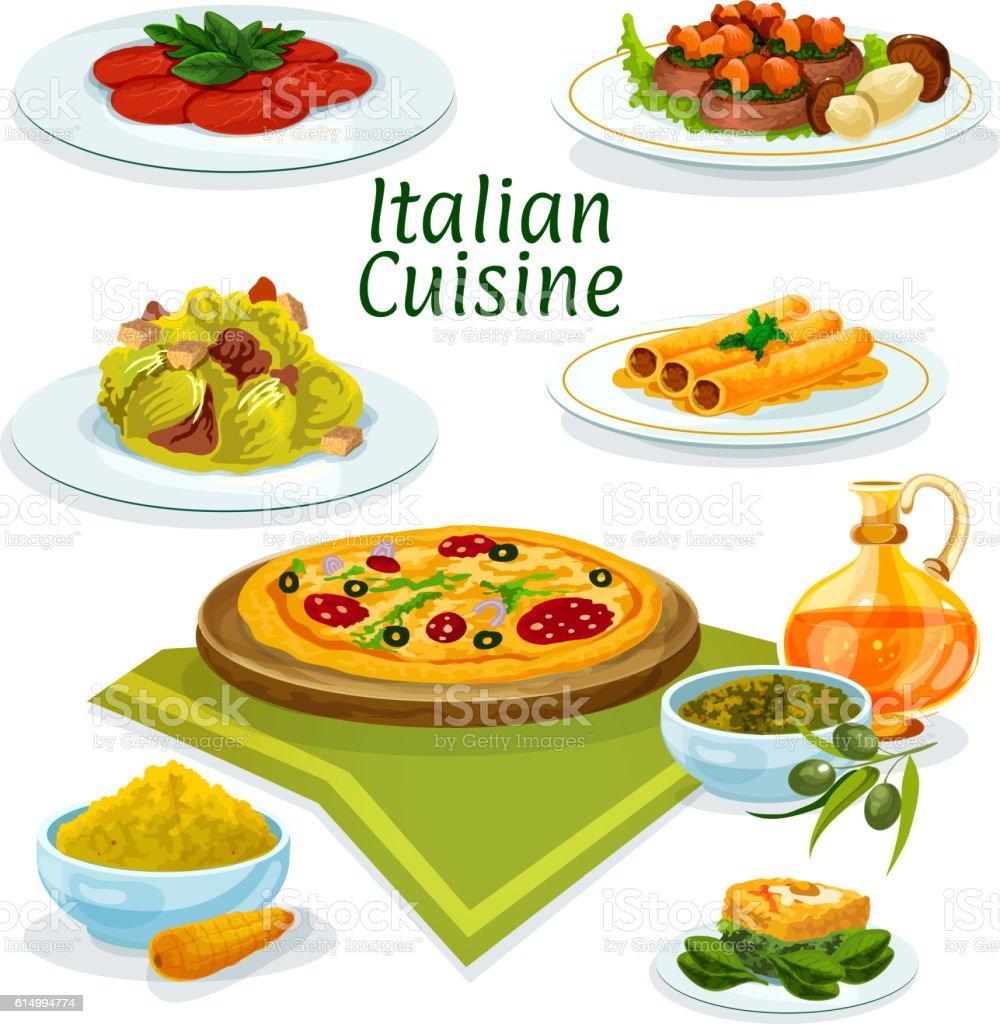 Italian cuisine dishes icon for menu design stock vector for Artistic cuisine menu