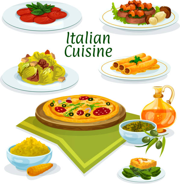 Italian cuisine dishes icon for menu design Italian cuisine pepperoni pizza cartoon icon served with beef carpaccio, lettuce salad caesar, pasta stuffed fish, corn polenta, basil and olive sauce pesto, beef with porcini and spinach omelette cannelloni stock illustrations