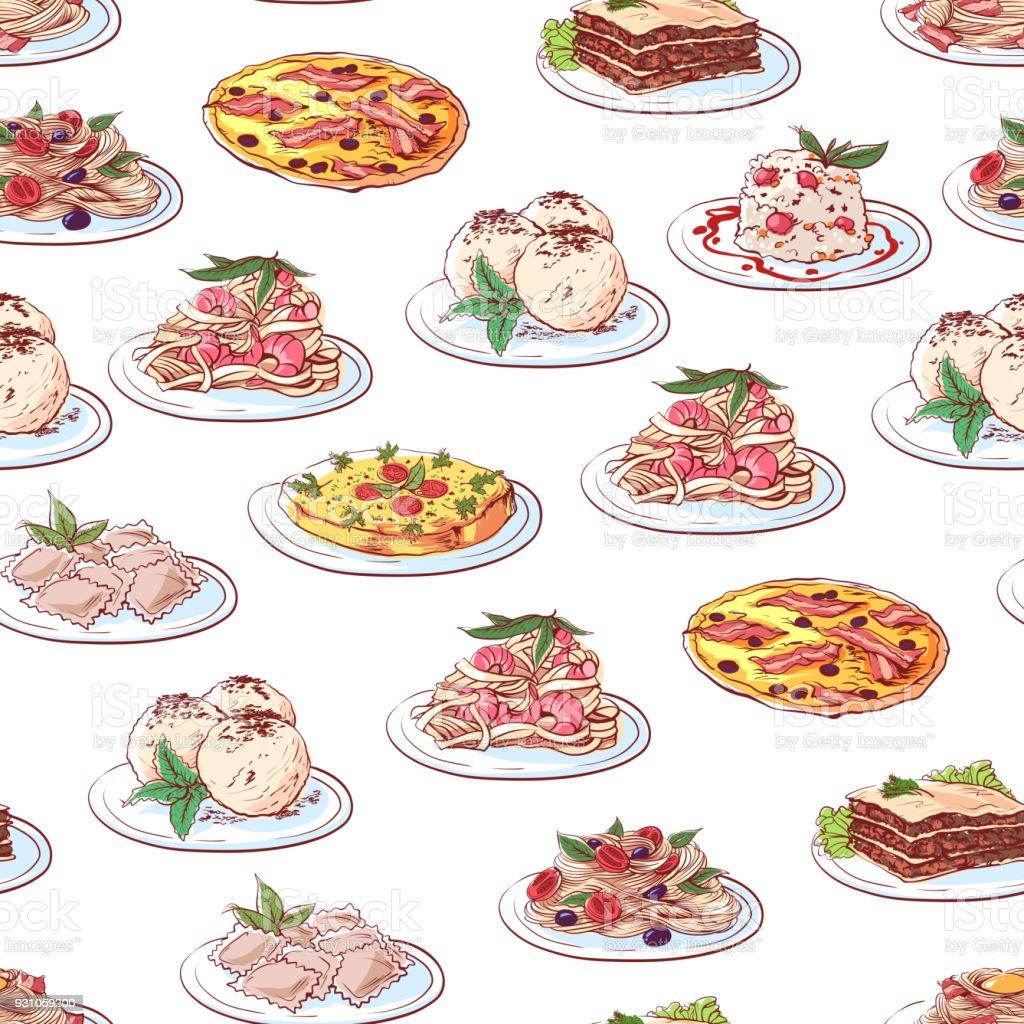 白い背景のイタリア料理 いたずら書きのベクターアート素材や画像を