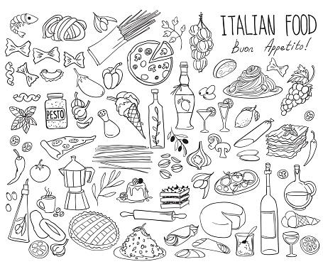 Italian cuisine doodle set. Traditional food and drinks - pizza, lasagna, risotto, gelato, pasta, spaghetti, wine.