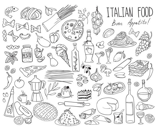 ilustrações de stock, clip art, desenhos animados e ícones de italian cuisine doodle set. traditional food and drinks - pizza, lasagna, risotto, gelato, pasta, spaghetti, wine. - mediterranean food