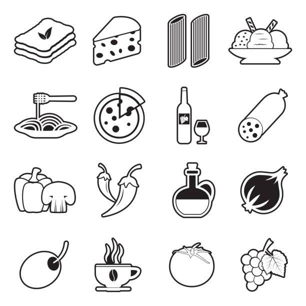 illustrazioni stock, clip art, cartoni animati e icone di tendenza di italian cuisine icons. line with fill design. vector illustration. - mortadella