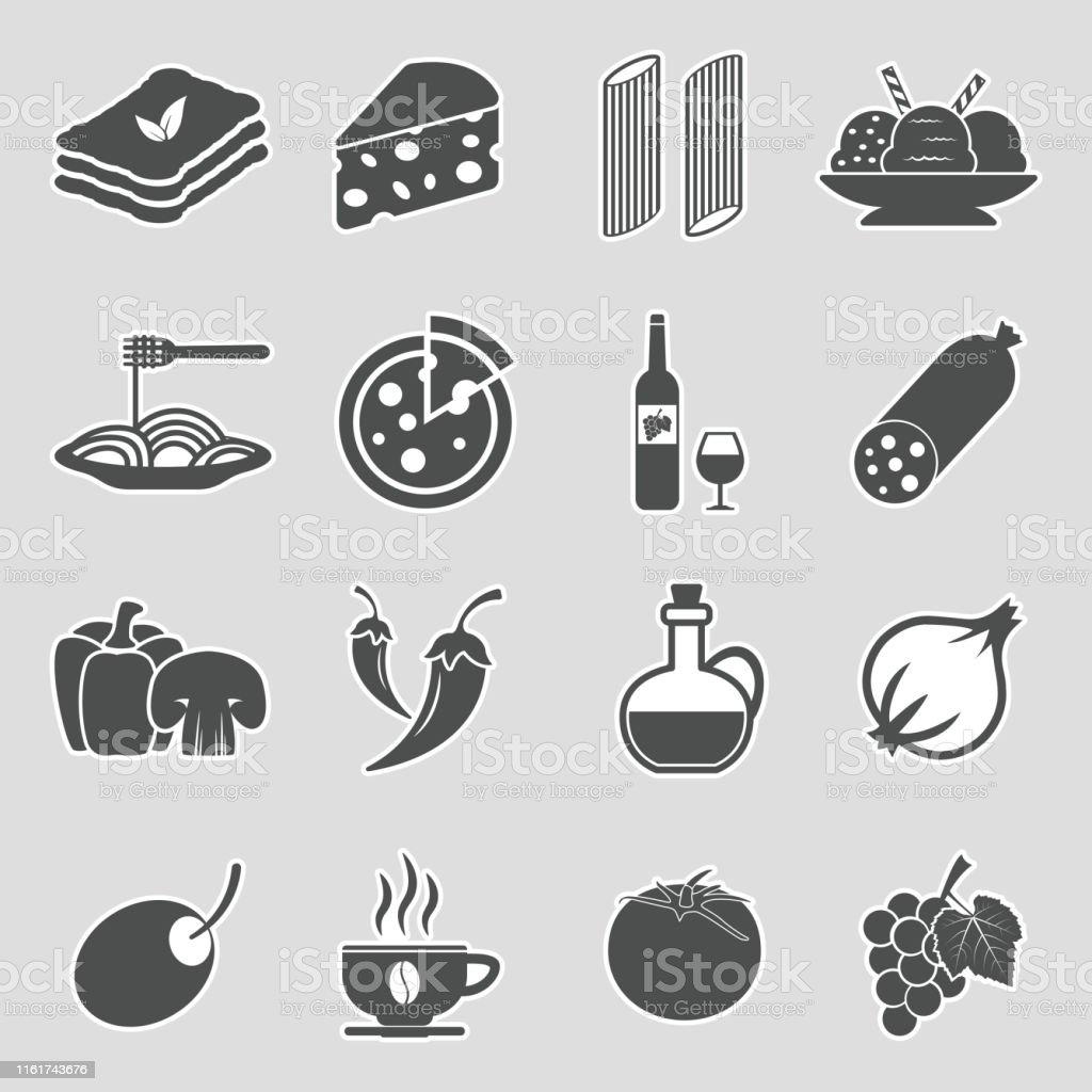 Italian Cuisine Icons. Sticker Design. Vector Illustration. - arte vettoriale royalty-free di Adesivo