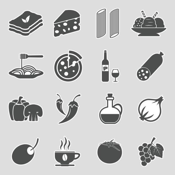 illustrazioni stock, clip art, cartoni animati e icone di tendenza di italian cuisine icons. sticker design. vector illustration. - mortadella