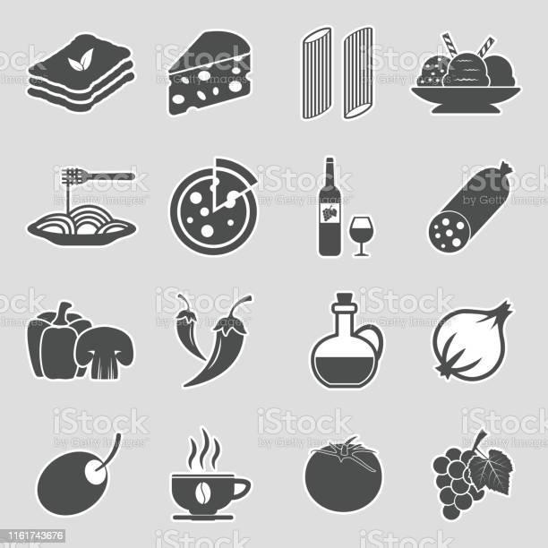 Italian Cuisine Icons Sticker Design Vector Illustration - Immagini vettoriali stock e altre immagini di Adesivo