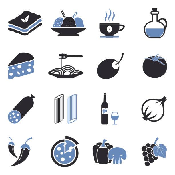 illustrazioni stock, clip art, cartoni animati e icone di tendenza di italian cuisine icons.  two tone flat design. vector illustration. - mortadella