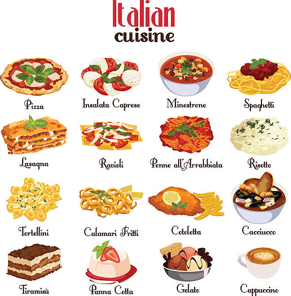 Italian Cuisine Icons A vector illustration of Italian cuisine icon sets tortellini stock illustrations