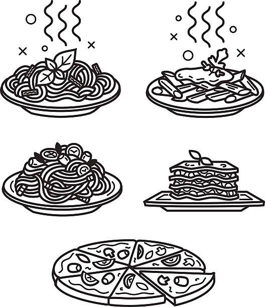 italienische küche-icons - spaghetti stock-grafiken, -clipart, -cartoons und -symbole