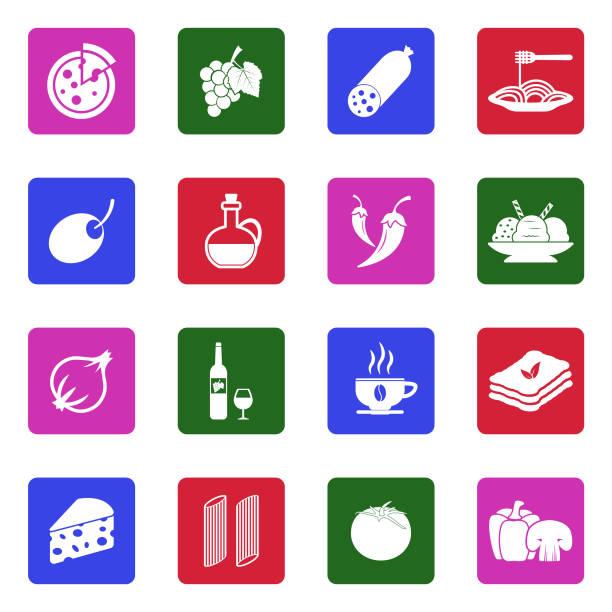 illustrazioni stock, clip art, cartoni animati e icone di tendenza di italian cuisine icons. white flat design in square. vector illustration. - mortadella
