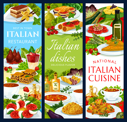 Italian cuisine, Italy dishes vector banners set
