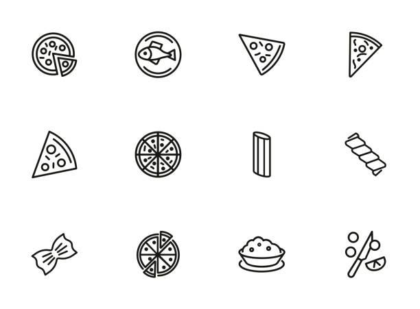 italienische küche-linie-icon-set - risotto stock-grafiken, -clipart, -cartoons und -symbole